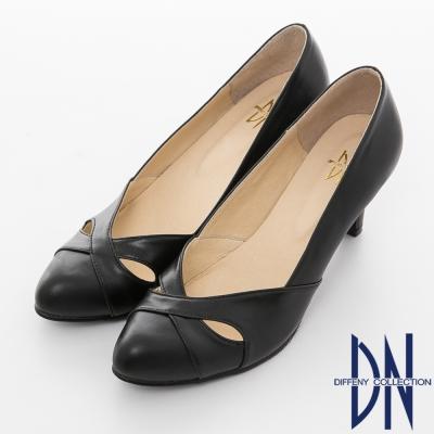 DN-優雅魅力-性感簍空素色尖頭跟鞋-黑