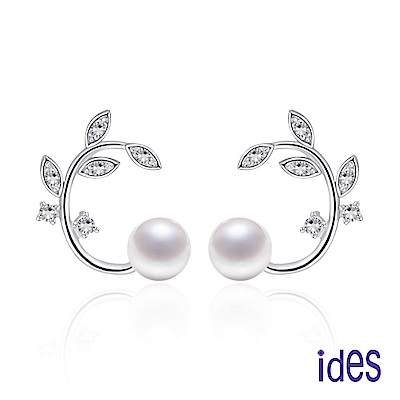 ides愛蒂思 限量淡水貝珠耳環/白色圓型6mm