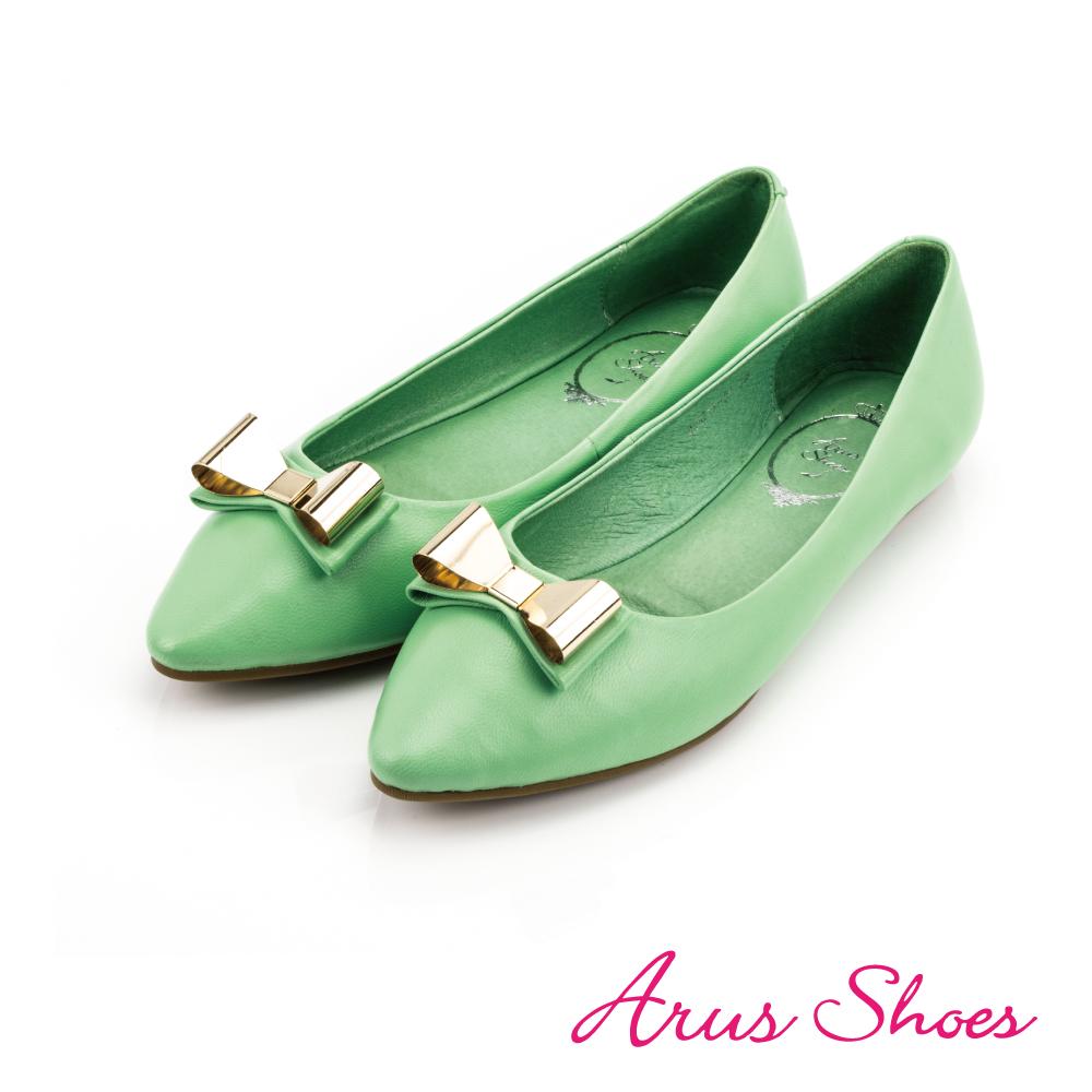 GDC-優雅金屬蝴蝶結素色尖頭平底鞋-淺藍色