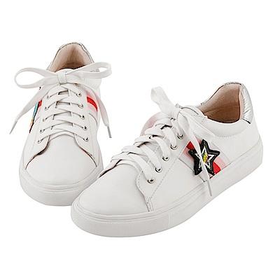 BESO 趣味街頭 閃耀亮片不對襯星球綁帶蝴蝶結休閒鞋~白
