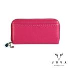 VOVA - 貝拉系列15卡荔枝紋扣式拉鍊長夾 - 桃紅色