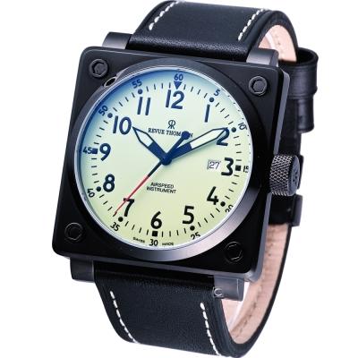 REVUE THOMMEN 超級領航者飛行機械錶-綠色/44x44mm