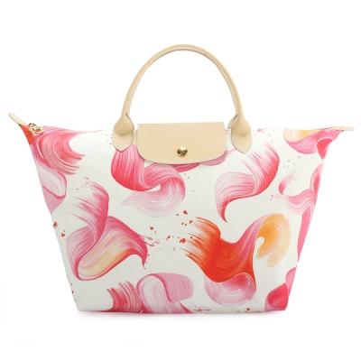 Longchamp Splash 花漾清新圖騰中型水餃包(短把/珊瑚紅)