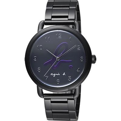 agnes b. 巴黎城市限定腕錶(BG8039X1)-黑x紫色字/40mm