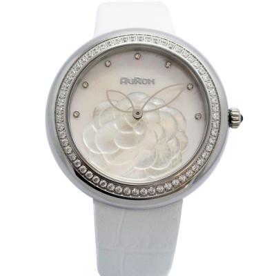 AuRox歐銳時 山茶花貝殼浮雕不袗石英鑽錶(AR1121-珍珠白) -38mm