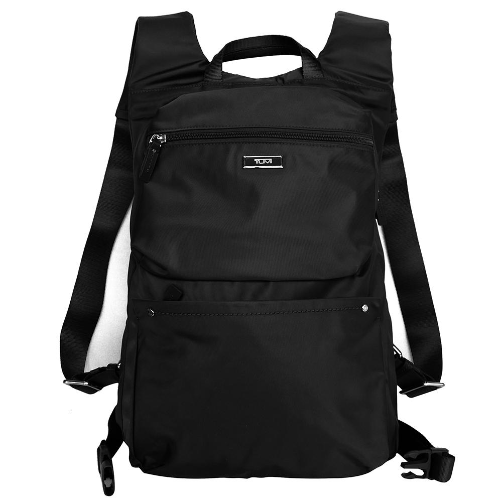 TUMI黑色質感滑面輕量尼龍雙肩後背包