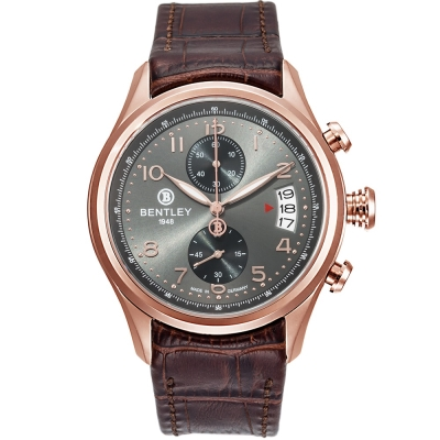 BENTLEY 賓利 AVIATOR系列 遨翔菁英計時手錶-灰x咖啡/43mm