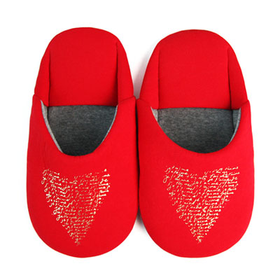 Yvonne Collection愛心日式拖鞋-紅L