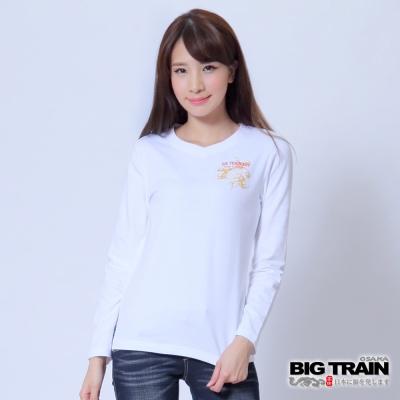BIG TRAIN 牡丹金魚波柄印花T-女-白色