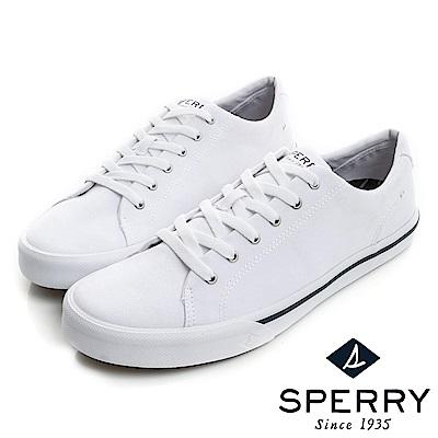 SPERRY  Striper全新進化吸震減壓帆布休閒鞋(情侶中性款)-白