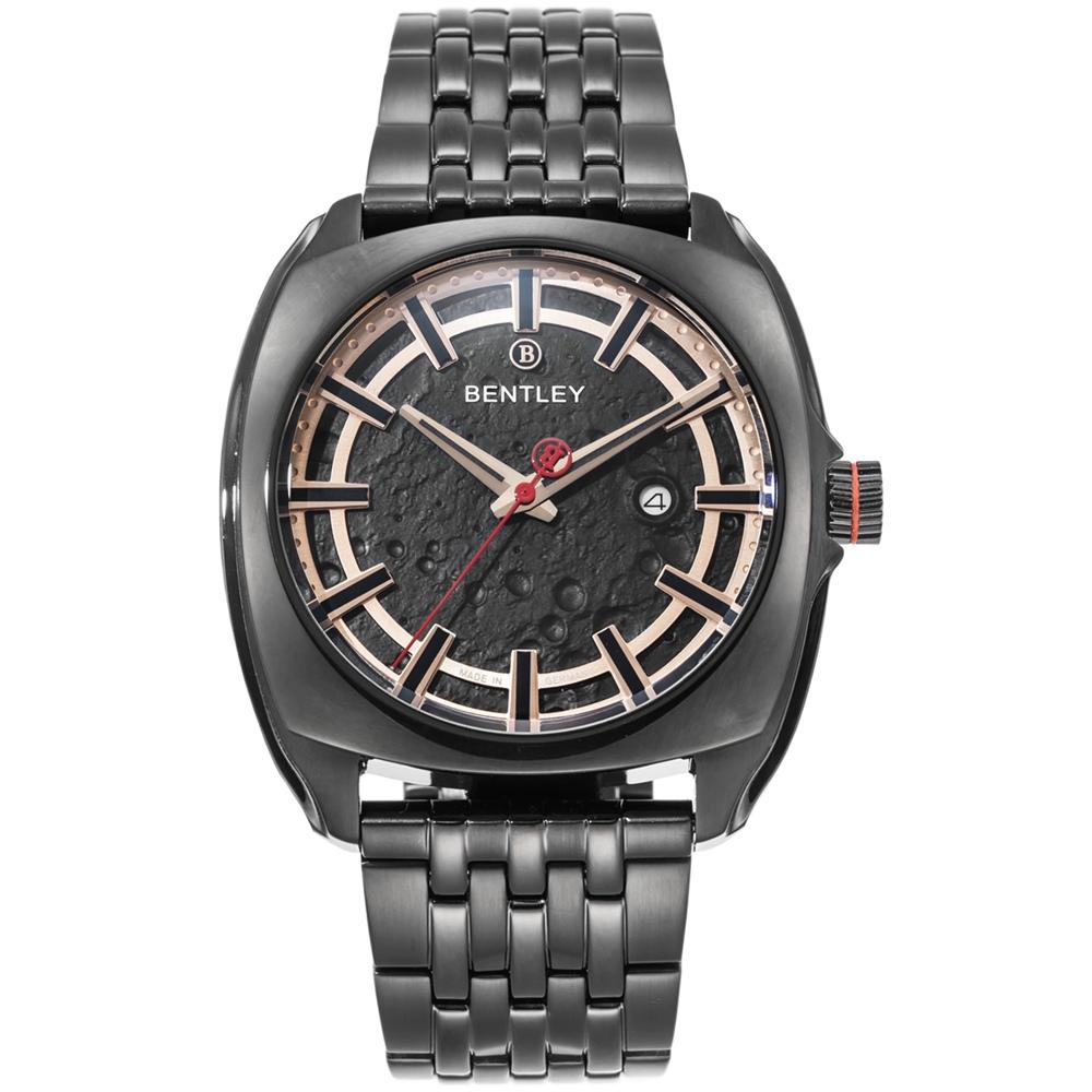 BENTLEY 賓利 Solstice系列 漫步月球手錶-黑x玫瑰金/45mm