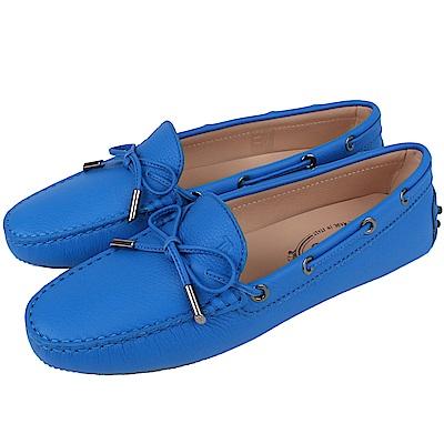 TOD'S Gommino 牛皮壓紋綁帶豆豆休閒鞋(女鞋/寶藍色)