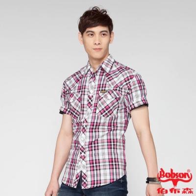 BOBSON 男款格紋短袖襯衫(桃紅15)