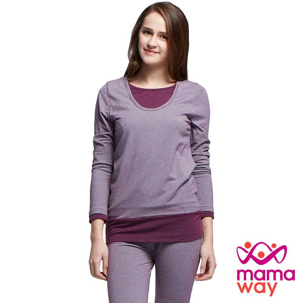 孕婦裝 哺乳衣 坐月子 睡衣 條紋孕哺居家服組(共二色) Mamaway