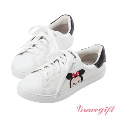 Disney collection by Grace gift-綁帶運動休閒鞋 白黑