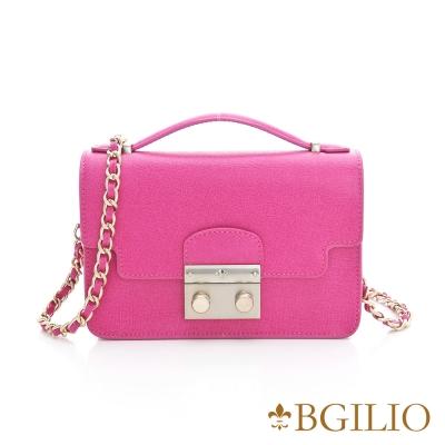 義大利BGilio - 十字紋牛皮俏麗晚宴手提鏈帶包 - 桃紅色 1692.006-14