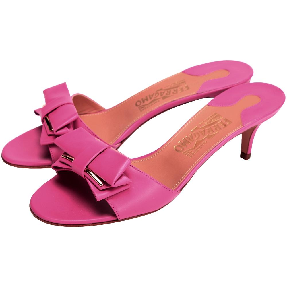 Salvatore Ferragamo PEACH 蝴蝶結飾涼鞋(桃紅色)