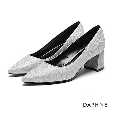 達芙妮DAPHNE 高跟鞋-金蔥尖頭馬蹄高跟鞋-銀