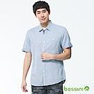 bossini男裝-素色短袖襯衫01湖水藍