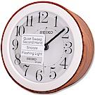 SEIKO 精工 經典仿木紋圓潤滑動式秒針 靜音鬧鐘 -簡約白
