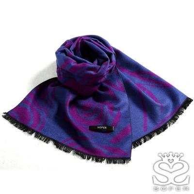 SOFER-凡爾賽玫瑰100-蠶絲圍巾-櫻桃紫