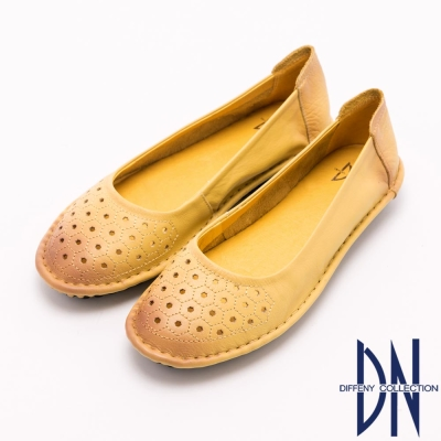 DN 復古潮流 全真皮擦色簍空包鞋 黃