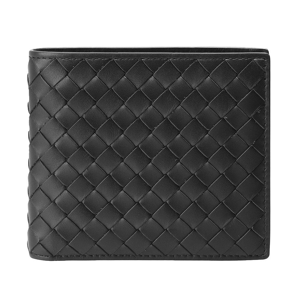 BOTTEGA VENETA 經典編織小羊皮零錢袋摺疊短夾(黑)