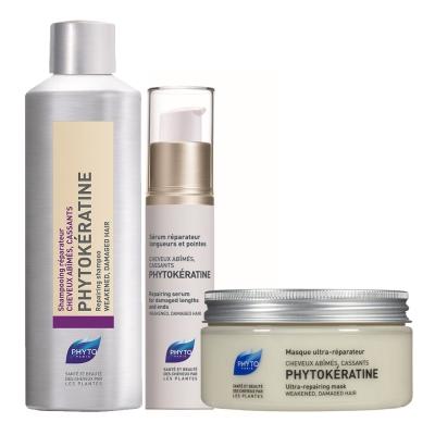 *PHYTO 水潤修護玻尿酸拋光護理3入組(洗200ml+髮膜200ml+精華液30ml)