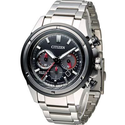 CITIZEN 星辰 Eco-Drive 超級鈦紳士計時腕錶-黑/ 43mm