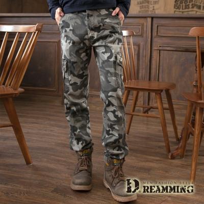 Dreamming 韓系工裝迷彩彈力修身休閒工作長褲-綠灰