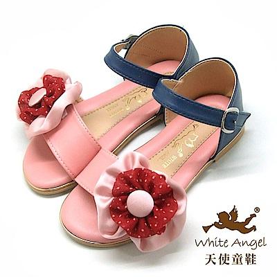 天使童鞋 清麗圓點花涼鞋(中-大童)J 848 -粉