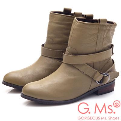 G.Ms. 2WAY活動式皮帶釦環工程短靴-橄欖