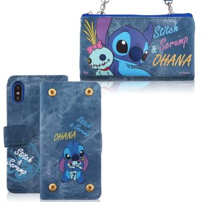 Disney迪士尼iPhone X 牛仔彩繪零錢包保護殼套組(活動可拆式)_史迪...