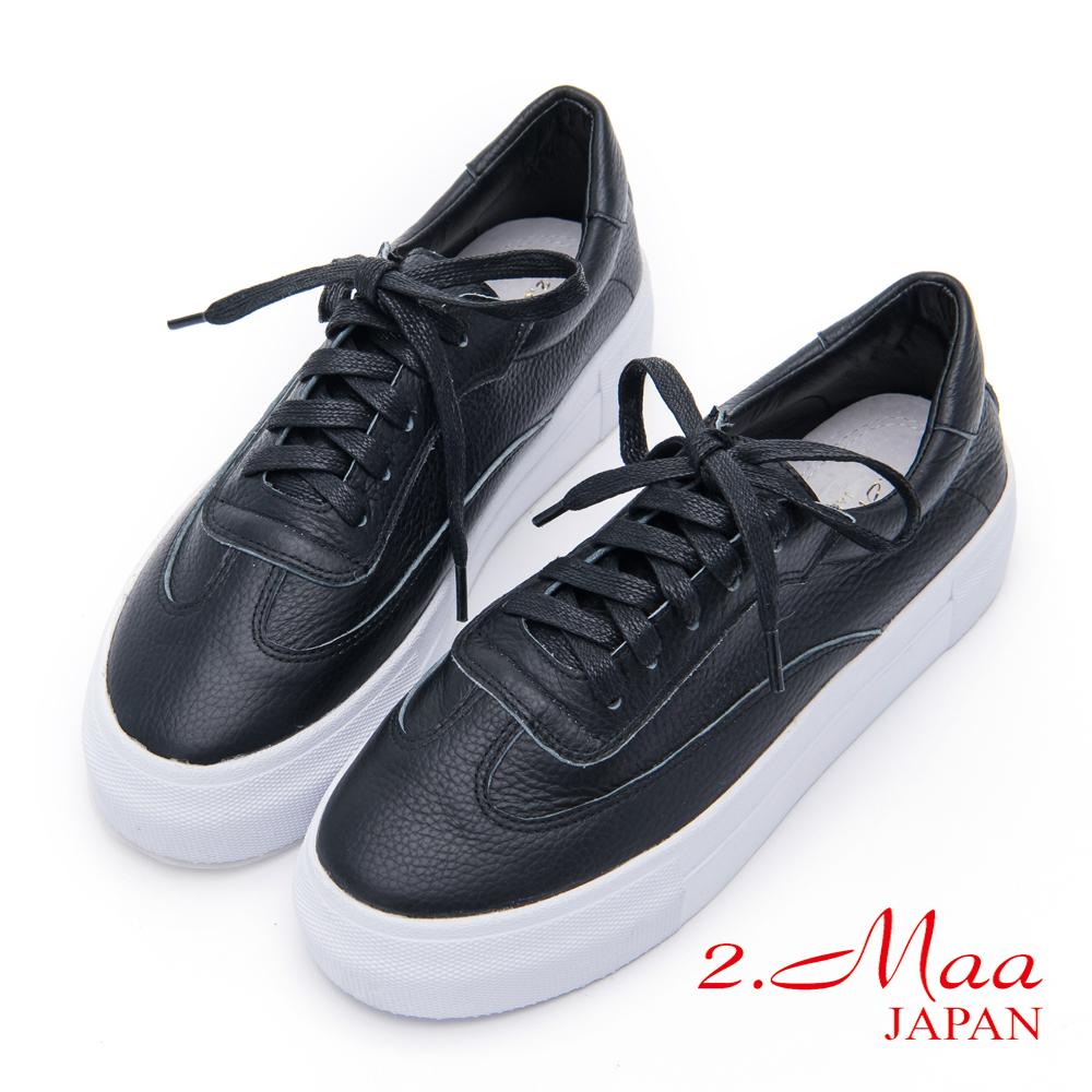 2.Maa - 經典不敗牛皮綁帶休閒便鞋 - 黑