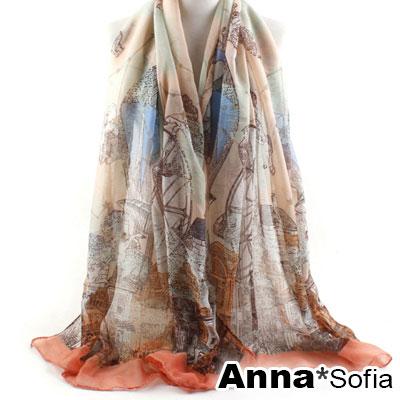 AnnaSofia-星象熱氣球-巴黎紗披肩圍巾-螢橘系