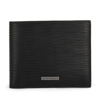 Emporio Armani 經典水波紋鐵牌LOGO多卡短夾-黑色