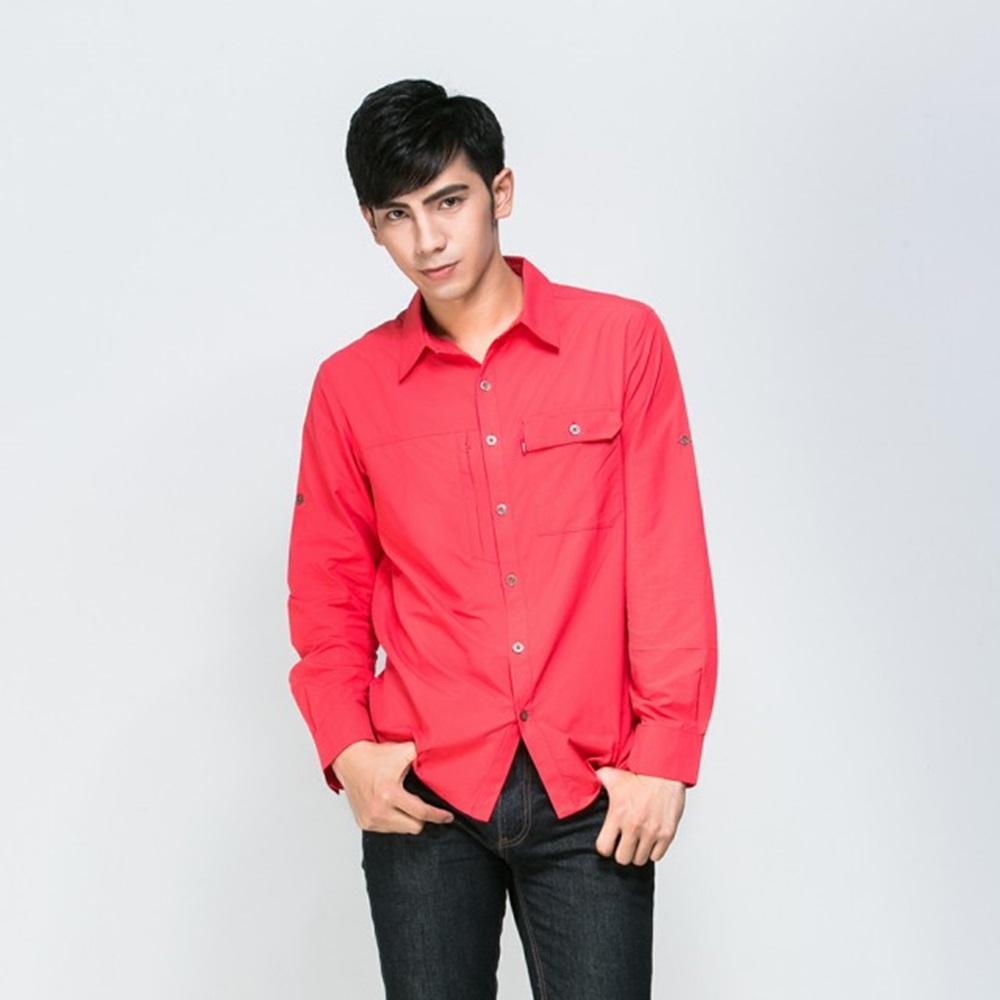 ATUNAS歐都納男款吸溼排汗抗UV長短袖休閒襯衫A-S1502M紅