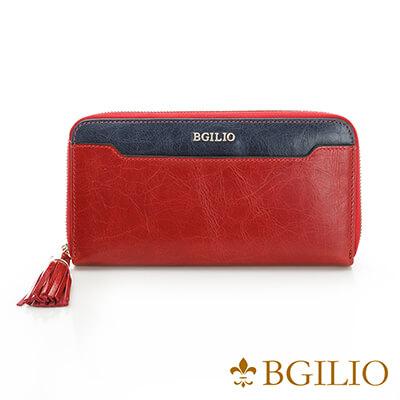 義大利BGilio-義大利蜡感牛皮雙色拉鍊長夾-紅色-2248.323-01