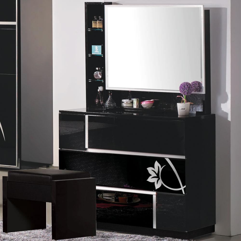 居家生活 艾薇黑色玻烤斗櫃鏡台(含椅)