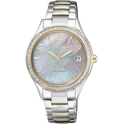 CITIZEN 星辰彩漾蝶貝光動能腕錶(EO1184-81D)-銀色x雙色/34mm