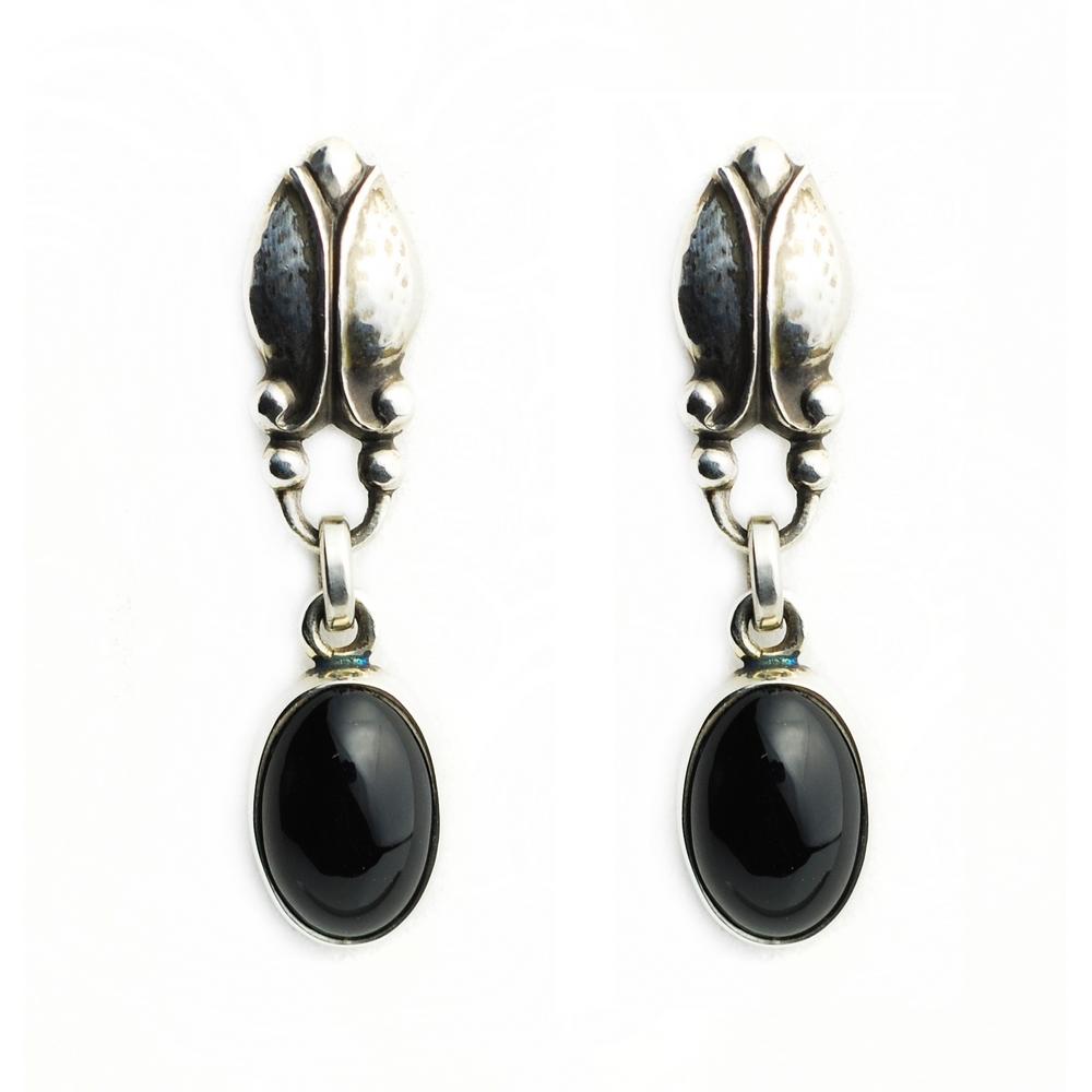 Georg Jensen #17 黑瑪瑙 針式耳環