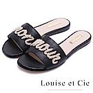 Louise et Cie 春漾優雅英文字拖鞋-黑色