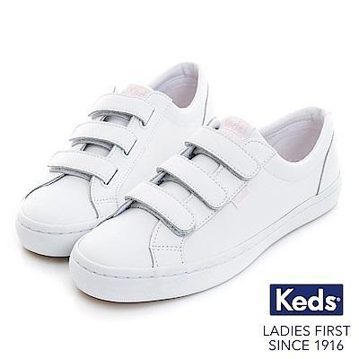 Keds TIEBREAK 摩登時尚黏扣帶休閒鞋-白/粉紅