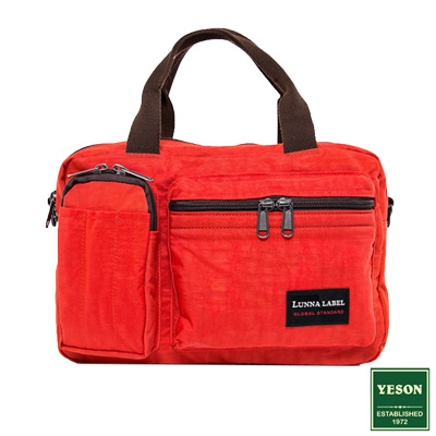 YESON - 商旅輕遊多隔層手提側背包-橘紅