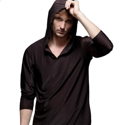 男居家服 冰絲睡衣多用途透氣連帽內著 咖啡色 EROSBODY