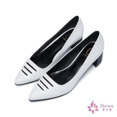 達芙妮x高圓圓-圓漾系列知性優雅線條鏤空粗跟尖頭鞋-氣質白