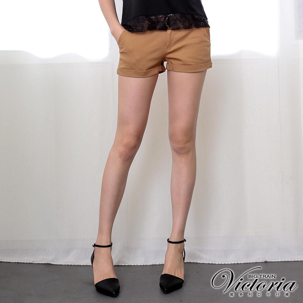 Victoria 低腰簡約繡花反摺短褲-女-卡其