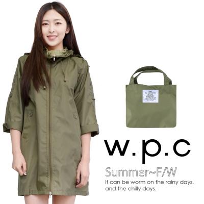 w.p.c. 2 way袖子可折。時尚雨衣/風衣(R9001)_橄欖綠