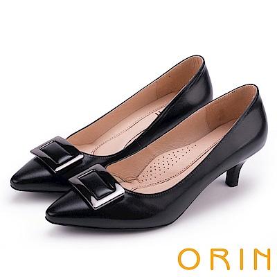 ORIN 復刻經典 柔軟羊皮方型釦環細高跟鞋-黑色