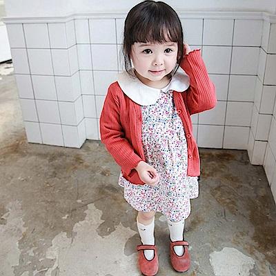 Baby unicorn 紅色直條壓紋開扣長袖外套